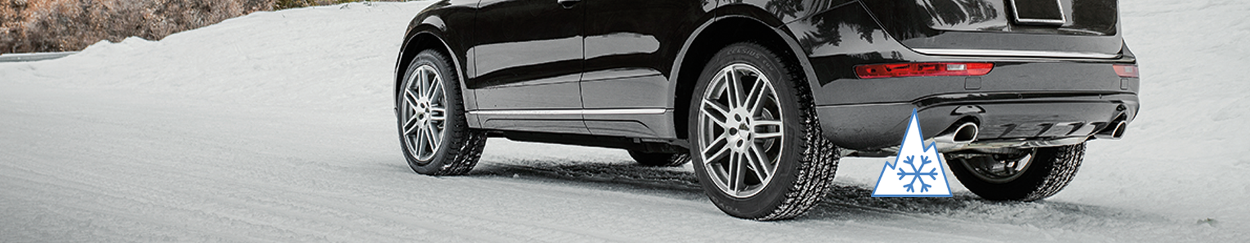CUV with Toyo Celsius CUV all weather tires on a snowy road.