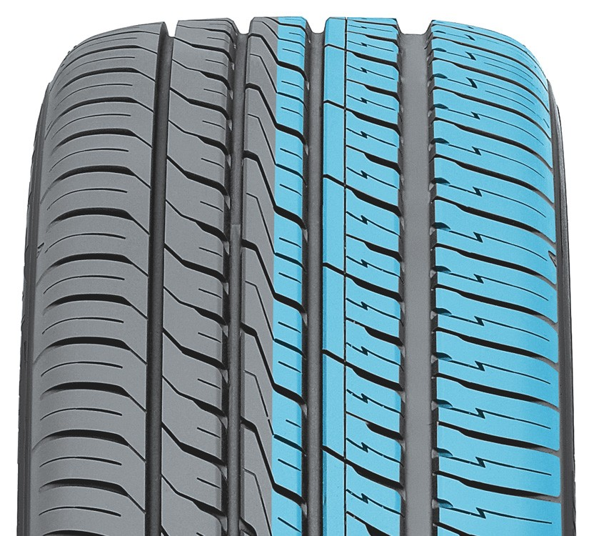 Wide grooves of toyo's all season performance tire