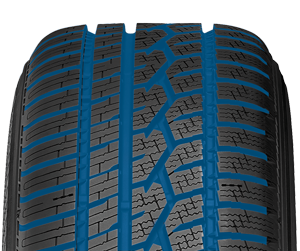 toyo's all weather passenger tire has evacuation grooves to drain snow