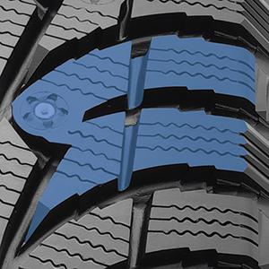 blocs de la semelle en forme de U avec arêtes en dents de scie du G3-Ice pouvant être cramponné