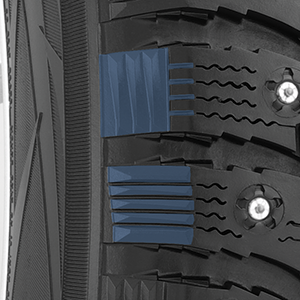 Alternating buttress block design of the stud optional G3-ice winter tire