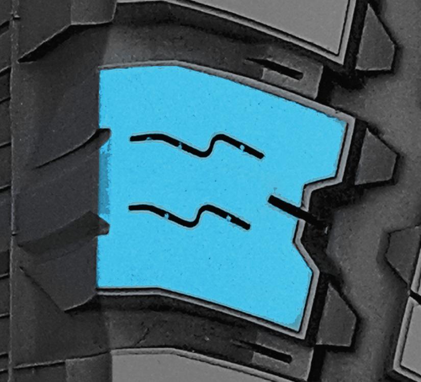 Polygonal blocks found on Toyo's all terrain light truck tire