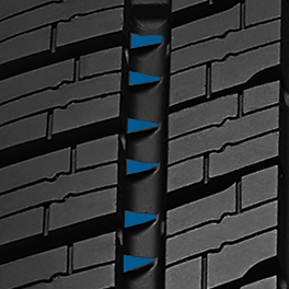 Toyo's Celsius all weather passenger  tire has snow claws to provide traction in snow