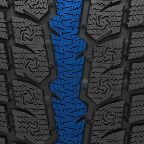 serrated stability  rib found on the GSi-6HP  performance winter tire