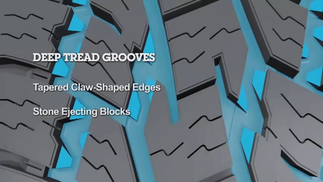 Deep Tread Grooves with Stone Ejecting Blocks - Tapered claw edges